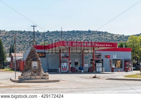 Smithfield, South Africa - April 23, 2021: A Street Scene, With A Gas Station And Voortrekker Monume