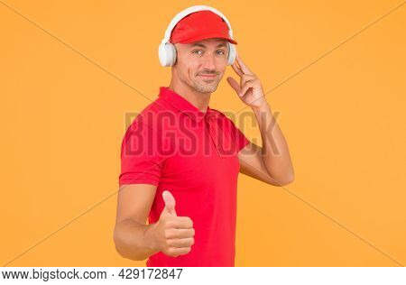 This Song Is So Good. Unshaven Man Give Thumbs Up Yellow Background. Like And Approval Sign. Handsom