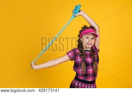 Healthy Sporty Tween Girl Hold Skipping Rope, Fitness