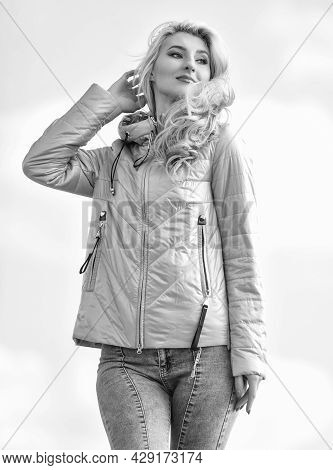 Feel Authentic. Female Psychology. Woman Fashion Model Outdoors. Woman Enjoy Cool Weather. Matching