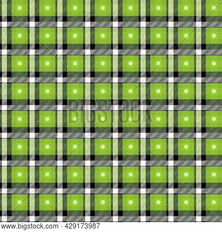 Vector Green Plaid Check Seamless Pattern In Geometric Abstract Style Can Be Used For Fashion Fabric