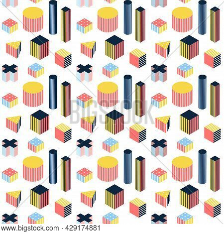 Isometry Memphis Seamless Pattern. Vector Illustration Of Polygonal And Geometric Background.