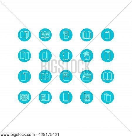 Brochure, Booklet, Flyer, Leaflet, Catalogue Flat Line Icons. Outline Set Vector Icons For Web Desig