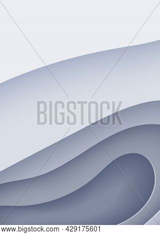 Abstract Background In Paper Cut Style. 3d Wallpaper With Cut Out Deep Waves Modern Cover. Grey Colo