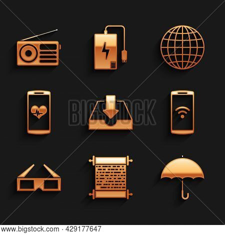Set Download Inbox, Paper Scroll, Umbrella, Smartphone With Wireless, 3d Cinema Glasses And Heart Ra