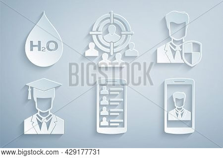 Set Smartphone With Contacts, User Protection, Graduate Graduation Cap, , Marketing Target Strategy