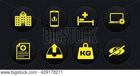 Set Clinical Record, Laptop And Gear, Upload Inbox, Weight, Hospital Bed And Smartphone With Upload
