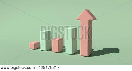Upward Bar Graph And Arrow - 3d Render Illustration