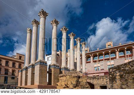 Cordoba, Spain - November 02, 2019: Remaining Columns Of The Roman Temple, Templo Romano Of Cordoba,