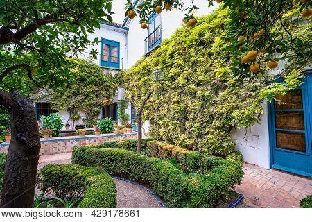 Cordoba, Spain - November 03, 2019: Courtyard Garden Of Viana Palace In Cordoba, Andalusia. Built In