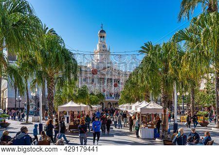 Cadiz, Spain - Nov 16, 2019: Cadiz City Hall On Plaza San Juan De Dios. Cadiz, An Ancient Port City
