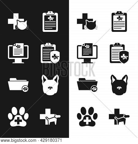 Set Clinical Record Pet, On Monitor, Veterinary Clinic, , Medical Veterinary Folder And Dog Icon. Ve