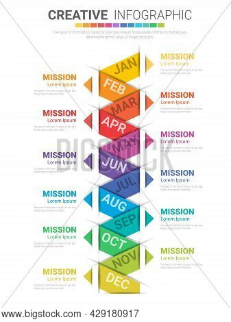 Infographics All Month Planner Design And Presentation Business Can Be Used For Business Concept Wit