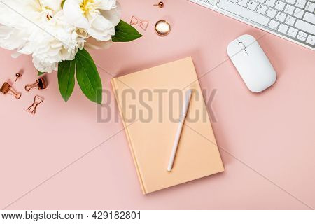 Closed Notebook For Writing Dreams And Ideas, With Different Stationery, And Big White Peony Flowers