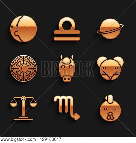 Set Horse Zodiac, Scorpio, Rooster, Rat, Libra, Astrology Horoscope Circle, Planet Saturn And Eclips