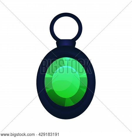 Magic Amulet, Dark Pendant In Cartoon Style Isolated On White Background. Emerald Gem Jewelry. Ui Ga