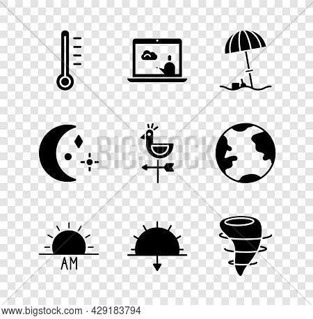 Set Meteorology Thermometer, Weather Forecast, Sun Protective Umbrella Beach, Sunrise, Sunset, Torna