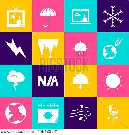 Set Rooster Weather Vane, Sun, Comet Falling Down Fast, Weather Forecast, Icicle, Lightning Bolt, An