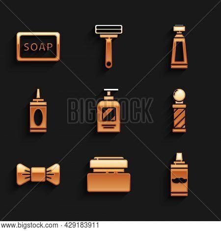 Set Bottle Of Shampoo, Cream Or Lotion Cosmetic Tube, Shaving Gel Foam, Classic Barber Shop Pole, Bo