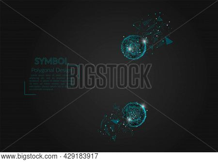 Abstract Isolated Blue Image Of A Colon Sign. Polygonal Illustration Looks Like Stars In The Blask N