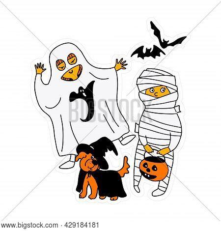 Halloween. Children In Halloween Costumes. Halloween Kids. Children In Bright Costumes .bright Chara