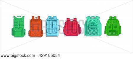 Education And Study Backpack In Row For Students And Traveling Icon. Rucksack Or Schoolbag With Pock