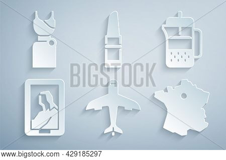 Set Plane, French Press, Portrait In Museum, Map Of France, Lipstick And Woman Dress Icon. Vector