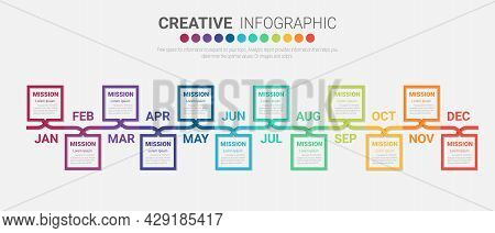 Presentation Business Infographic Template For 12 Months, 1 Year, Can Be Used For Business Concept W