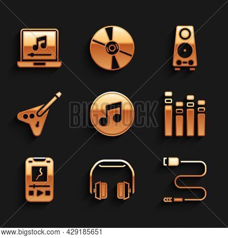 Set Music Note, Tone, Headphones, Audio Jack, Equalizer, Player, Electric Bass Guitar, Stereo Speake