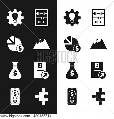 Set Mountains With Flag, Pie Chart And Dollar, Light Bulb Gear, Abacus, Money Bag, Job Promotion, Pi