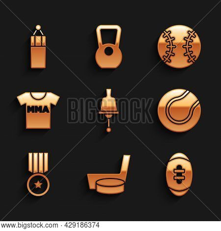 Set Ringing Bell, Ice Hockey Stick And Puck, American Football Ball, Tennis, Medal, T-shirt With Fig