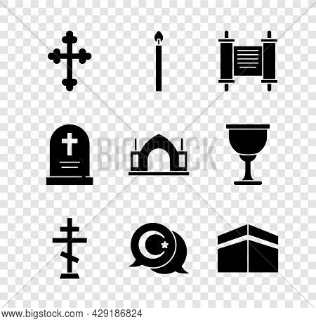 Set Christian Cross, Burning Candle, Decree, Paper, Parchment, Scroll, Star Crescent, Kaaba Mosque,