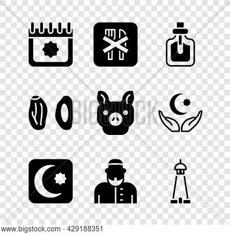Set Ramadan Calendar, Fasting, Perfume, Star And Crescent, Muslim Man, Mosque Tower Or Minaret, Date
