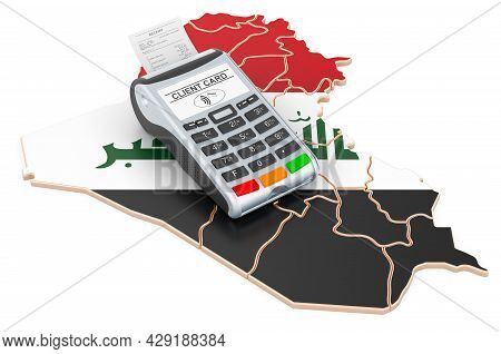 Iraqi Map With Pos Terminal. Cashless Payments In Iraq Concept. 3d Rendering Isolated On White Backg
