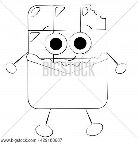 Cute Cartoon Chocolate Character In Wrapper. Draw Illustration In Black And White