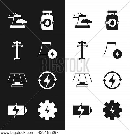 Set Nuclear Power Plant, Electric Tower, Propane Gas Tank, Solar Energy Panel, Recharging, Gear And