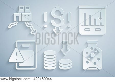 Set Dollar Rate Decrease, Pie Chart Infographic, Global Economic Crisis, Glass Money Jar With Coin,