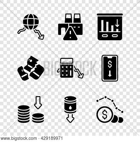 Set Global Economic Crisis, Shutdown Of Factory, Pie Chart Infographic, Dollar Rate Decrease, Drop C