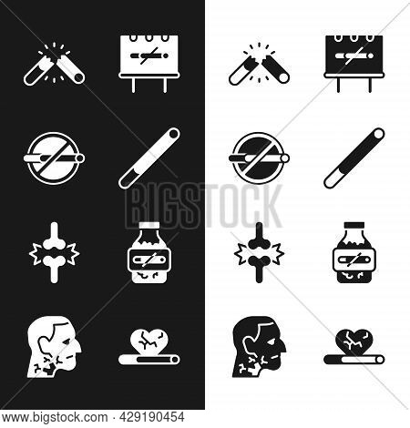 Set Cigarette, No Smoking, Broken Cigarette, Joint Pain, Knee Pain, Nicotine Gum Blister Pack, Heart