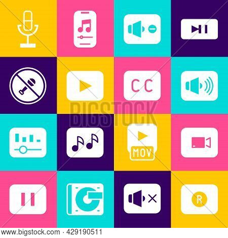Set Record Button, Play Video, Speaker Volume, Mute, Mute Microphone, Microphone And Subtitles Icon.