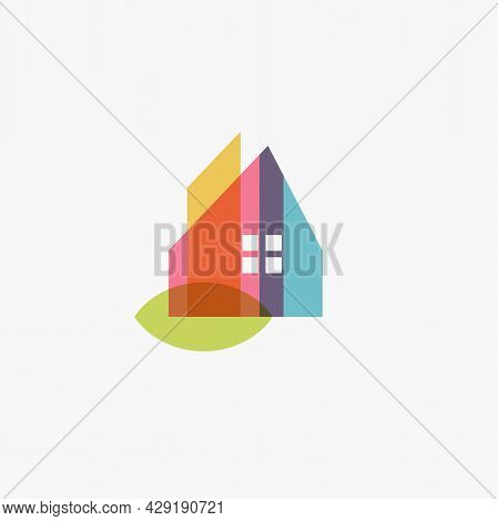 Chalet Home Logo Eco House Design Sign, Chalet Abstract Color Icon. Colorful Cottage, Townhouse, Dup