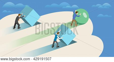 3d Isometric Flat Vector Conceptual Illustration Of High Efficiency Strategy, Business Growth And De