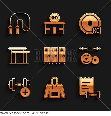 Set Locker Or Changing Room, Hoodie, Sport Training Program, Barbell, Dumbbell, Uneven Bars, Weight