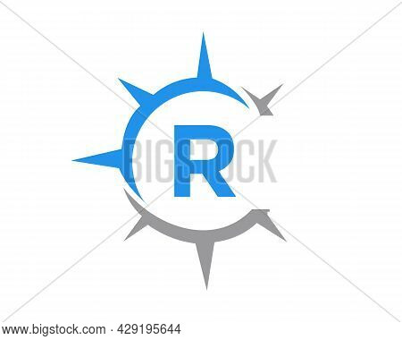 Compass Logo Design With R Letter Concept. Compass Concept With R Letter Typography