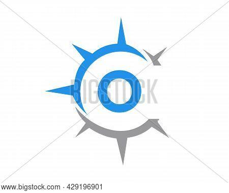 Compass Logo Design With O Letter Concept. Compass Concept With O Letter Typography