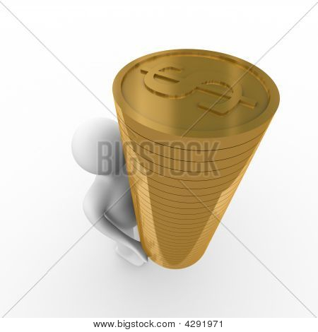 man with money for a white background. Isolated 3D image poster