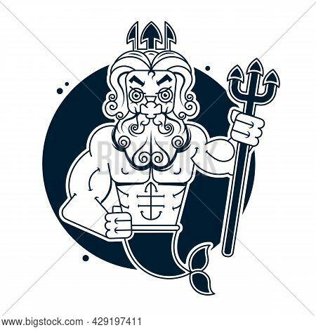 Poseidon Clip Art Or Logo, Vector Art