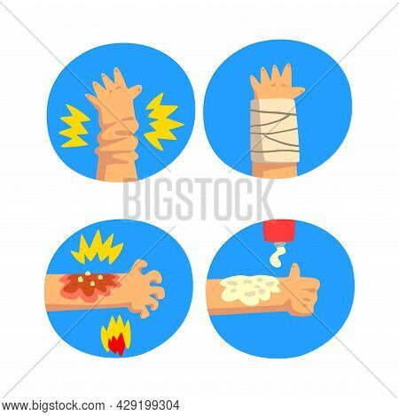 First Aid For Wounded Arm In Blue Circle Vector Set