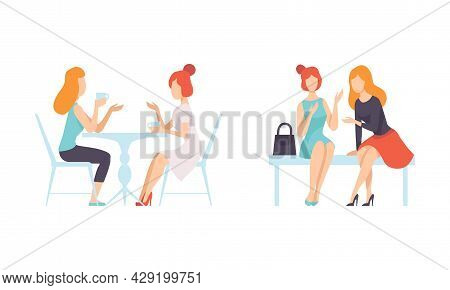 Female Friend Spending Time Together Sitting At Cafe Table And Bench Gossiping Vector Set