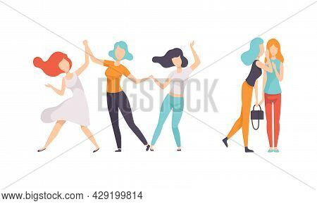 Female Friend Spending Time Together Dancing And Gossiping Vector Set